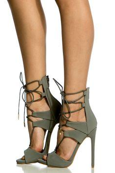 Grey Faux Nubuck Lace Up Single Sole Heels