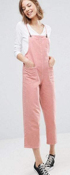 SHOP: ASOS pale pink dungarees. These would look great worn with a contrasting turtleneck underneath. Maybe a baby blue hue