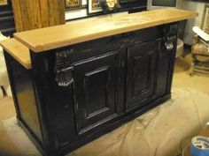 Distressed White Antique Repro Counter Bar Reception Desk