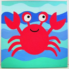Cute Crab (12x12 original hand-painted acrylic on canvas)