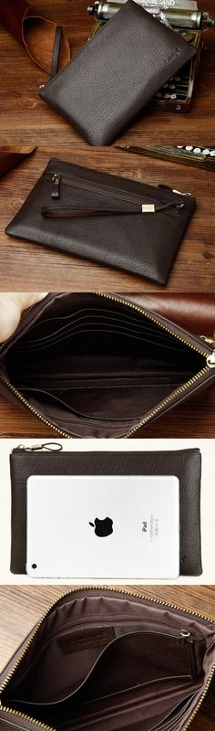 Genuine Leather large clutch leather men phone pad zip clutch
