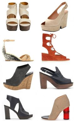 Spring Shoes: Part 2. While we love our piled-on winter attire, we find ourselves looking forward to shedding a few layers, raising our hemlines, and embracing an elevated spring (shoe) silhouette.  We've rounded up a few of our other favorites for the season; from peep-toes to platforms wedges, here are our picks