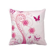 Floral Butterfly American MoJo Pillow.