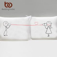 I LOVE YOU Pillow Case Cover Plain Printed Pillowcase Romantic Wedding Gift One Pair for Him or Her Bedclothes - Animetee - 8