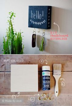 DIY Chalkboard key holder - Shelf underneath canvas, hooks in wood Home Crafts, Diy Home Decor, Diy And Crafts, Diy Wedding Gifts, Diy Gifts, Decoration St Valentin, Diy Chalkboard, Chalkboard Canvas, Ideias Diy