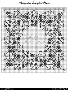 love this pattern! Will probably make this with two colours, just to make it to life! :) Now shall I have red or white grapes. Blackwork Cross Stitch, Biscornu Cross Stitch, Cross Stitch Charts, Cross Stitch Designs, Cross Stitching, Cross Stitch Patterns, Kasuti Embroidery, Cross Stitch Embroidery, Embroidery Patterns