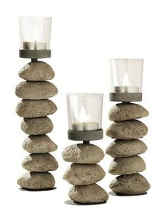 Stone candle holder - isn't it lovely! Stone Crafts, Rock Crafts, Crafts To Make, Rock Lamp, Rock Sculpture, Rock Design, Nature Crafts, Pebble Art, Stone Art