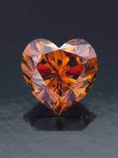Cognac heart-shaped diamond