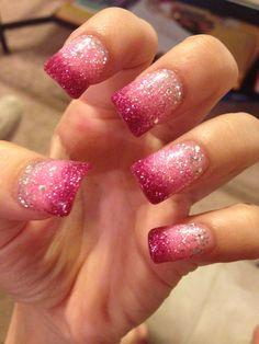 Pink faded nail. Acrylic powder.