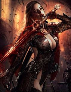f Vampire Sword Leather Church Ruin Bats elite art female Fantasy Girl, Fantasy Female Warrior, Chica Fantasy, Fantasy Art Women, Warrior Girl, Dark Fantasy Art, Fantasy Artwork, Female Art, Goddess Warrior