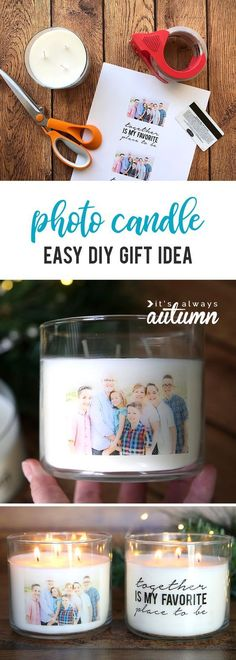 Learn how to make gorgeous personalized candles with your favorite photo on them with an easy packing tape transfer. Easy handmade gift idea only takes about 15 minutes and costs just a few bucks! Personalized Candles, Easy Handmade Gifts, Candle Jars, Tape, Gift Ideas, Packing, Tableware, Diy, Bag Packaging