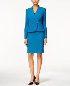 Tahari ASL Petite Crepe Crossover Jacket Skirt Suit | macys.com