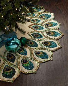 Peacock Christmas tree skirt