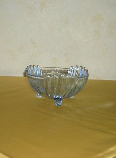 Art Deco Frosted Clear Glass Bowl Inventive Vintage 1930s Yellow Amber Maybe Bagley British Glass