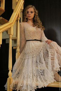 """Купить Платье """"Снежность"""" - белый, мохеровое платье, вязанное платье, платье из мохера, мохер, шелк"""