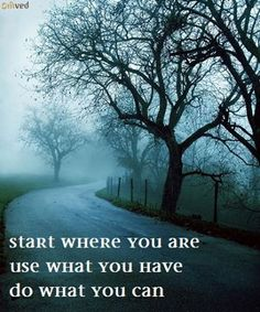 """""""Start where you are.  Use what you have. Do what you can."""" - Arthur Ashe"""