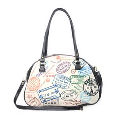 Travel Stamps Handbag, 26,50€, now featured on Fab. by Elite Goby !!