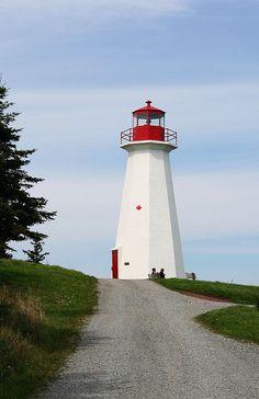 Cape George lighthouse, Nova Scotia, outside of Antigonish. Lighthouse Lighting, Canadian Travel, Atlantic Canada, Cape Breton, Beacon Of Light, Light Of The World, Water Tower, Nova Scotia, Places To Go