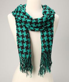 Peacock & Black Houndstooth Scarf #zulily #fall