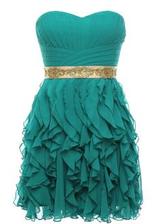 Turquoise Flounce Dress--not crazy about the belt but love the fabric manipulation!