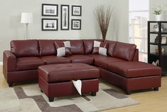 A.M.B. Furniture & Design :: Living room furniture :: Sofas and Sets :: Leather sectionals :: 3 pc Burgundy II bonded leather match reversible sectional sofa with free storage ottoman
