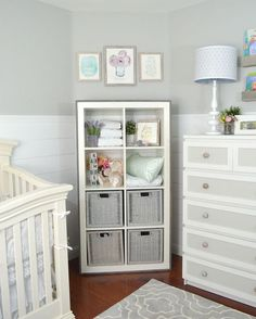"""Want to update your IKEA Expedit or Kallax Bookshelf? Then this is an easy tutorial for you. I added wood to my shelf to give it that little bit of an extra rustic look for my """"Rustic Glam Nursery"""". Nursery Bookshelf, Nursery Storage, Ikea Baby Nursery, Baby Boy Nurseries, Ikea Baby Room, Cube Shelves, Cube Storage, Baby Room Design, Baby Room Decor"""