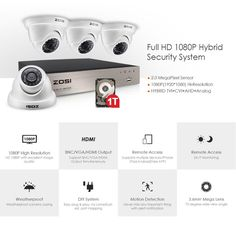 ZOSI 4CH TRUE 1080P DVR W/4X Dome Cameras & 1TB HDD