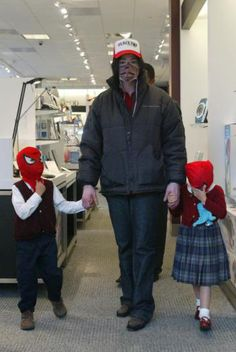 Michael Jackson with Prince and Paris Jackson with Spiderman mask.