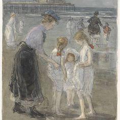 Kindermeisje met drie meisjes op het strand van Scheveningen, Johan Antonie de Jonge, 1874 - 1927 - Rijksmuseum