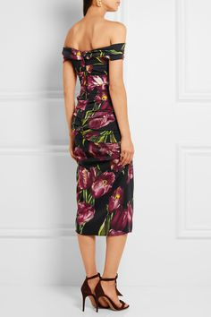 Dolce & Gabbana Off-the-shoulder floral-print stretch-silk charmeuse dress $2,995 Multicolored stretch-silk charmeuse Concealed zip fastening along back  94% silk, 6% elastane Dry clean Made in Italy