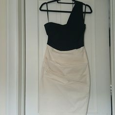 4 ASOS one shoulder dress Black and white, one shoulder ruched dress. Knee length, fits snug. ASOS Dresses One Shoulder