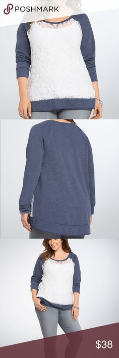 "Torrid Front Lace Sweatshirt Lovely sheer ivory lace front and center would usually steal the show. But when paired with sporty navy knit raglan sleeves...this sweatshirt has the feels of your fave lived-in sweatshirt with the looks of a statement piece. Subtle hi-lo hem.  Polyester/rayon/nylon/spandex Torrid Size 0. Front length 25""/ back 27.5"". torrid Sweaters"