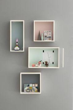 Ferm Living Wandkastje bruin/grijs multiplex 30x30x10cm, Display Box grey - wonenmetlef.nl