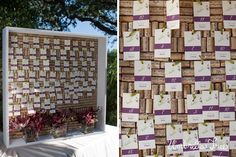 Cute idea for winery wedding: Cork  escort cards display