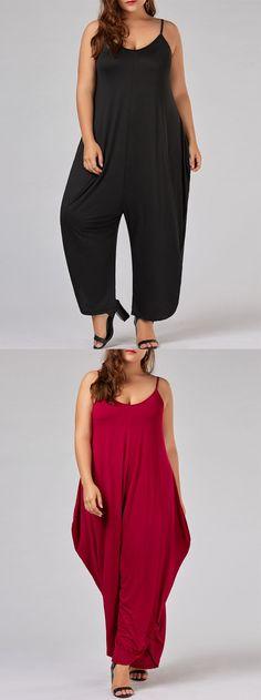Plus Size Spaghetti Strap Maxi Baggy Jumpsuit