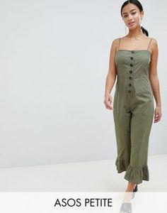 bd6f1cc2425 ASOS DESIGN Petite cotton frill hem jumpsuit with square neck and button  detail at asos.com