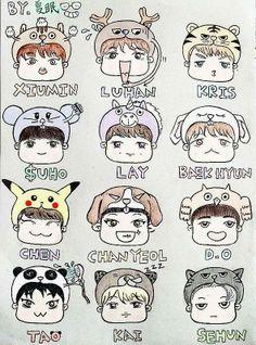 Id get Chanyeol, and Tao, and steal the pikachu from Chen Kai Exo, Chanyeol Baekhyun, Park Shin, Exo Cartoon, Xiuchen, Exo Fan, Exo Ot12, Exo Members, Kpop Fanart