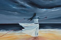 """Peace """"red thread of destiny series, Acrylic painting by Moodlandscapes on Etsy"""