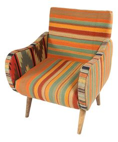 This Orange Stripe Kilim Lounge Chair by Karma Living is perfect! #zulilyfinds