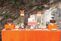 bright orange dessert table inspired by Hermes, photography by Visionari