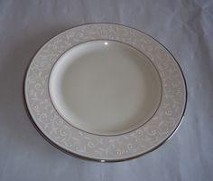 Lenox Pearl Innocence Salad Plate Off White Silver Trim #Lenox & Mikasa Casa Blanca HK224 Salad Plate White Fine China Super Strong ...