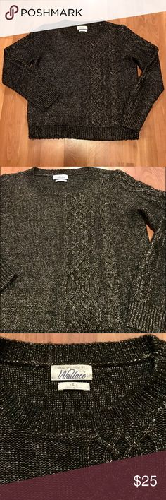 """Madewell Wallace Metallic Sweater REPOSH - Wool blend sweater from Wallace for Madewell. Awesome black with gold woven throughout. Never worn by me from previous Posher. Excellent condition, just shorter than I prefer. Bust 19"""", length 22"""" Madewell Sweaters"""