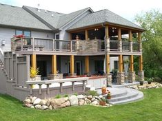 Lower Deck, Covered Decks, Deck Plans, House With Porch, Wooden Decks, Diy Pergola, Outdoor Living, Outdoor Patios, Water Features