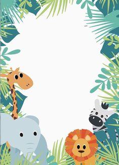 Jungle Theme Birthday, Jungle Party, Safari Party, Baby Birthday, Safari Invitations, Baby Shower Invitations For Boys, Birthday Invitations, Woodland Animals Theme, Baby Journal