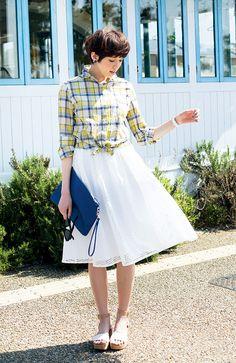 IEDITレーベルコレクション 美人シルエットのクリンクル加工イージーケアチェックシャツの会 | フェリシモ