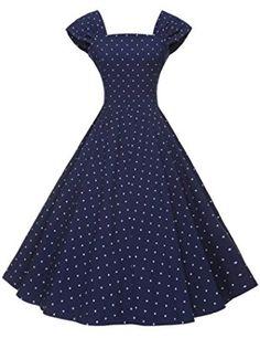314d017dbec27 GownTown Women Cap Sleeve A-line Swing Dress, Blue Dot, Small Size teen  modest vintage church