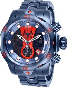 Shop for Invicta Men's 26064 'Marvel' Spiderman Blue Silicone Watch. Get free delivery On EVERYTHING* Overstock - Your Online Watches Store! Stylish Watches, Luxury Watches, Cool Watches, Watches For Men, Patek Philippe, Devon, Tag Heuer, Cartier, Omega