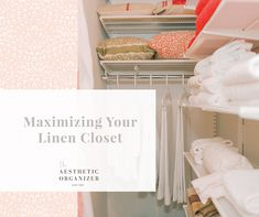 Maximizing Your Linen Closet #closetorganization #closethangers #closetshelving #closetideas #californiaclosets #linenclosetideas Wardrobe Organisation, Linen Closet Organization, Small Space Organization, Wardrobe Storage, Bedroom Storage, Storage Spaces, Beautiful Closets, Shelf Dividers, California Closets