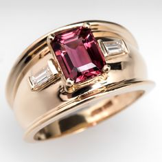 Domed Pink Tourmaline Wide Band Ring 14K Gold