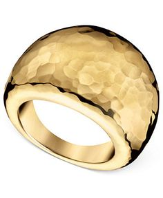 ck Calvin Klein Ring, Gold PVD Stainless Steel Hammered Ring - Fashion Rings - Jewelry & Watches - Macy's
